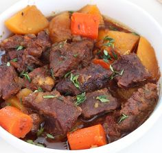 beer braised beef with carrots and potatoes. Flavorful beer braised beef with carrots and potatoes, cooked slow and low in the oven is an effortless weeknight meal. One bite of this tender, juicy, tad spicy beef is going to send you over the moon. Slow Cooker Recipes, Beef Recipes, Cooking Recipes, Easy Recipes, Recipies, Beef In Beer, Carrots And Potatoes, Braised Beef, Kraft Recipes