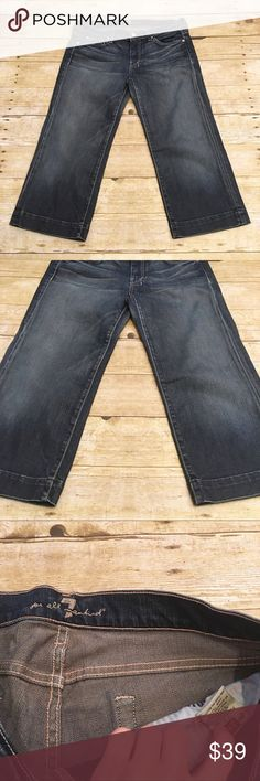 Denim 7 For All Mankind DOJO capris, size 29 Great condition 7 For All Mankind denim capris, DOJO style, size 29. No flaws at all, hardly worn at all! Worn a handful of times, if that. Inseam- approximately 21 inches, rise- approximately 8 inches, waist- approximately 16 inches. 7 For All Mankind Pants Capris