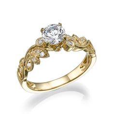 Leaf Engagement Ring, Engagement band, Unique engagement ring, Antique Ring, Vintage Ring, Leaves ring, Wedding Ring, Bridal Jewelry