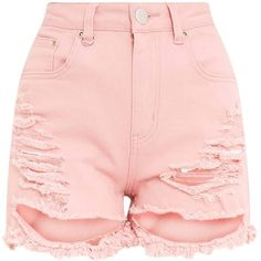 Jeanie Pink Extreme Rip Mom Short ($26) ❤ liked on Polyvore featuring shorts, short jean shorts, torn shorts, ripped shorts, destroyed denim shorts and pink short shorts