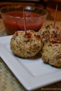 Quinoa Turkey Meatballs - serve with wholemeal pasta, tomato sauce some spinach and a pinch of parmesan, yum!