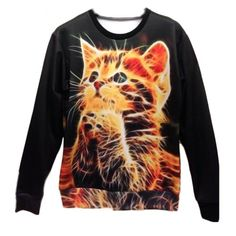 Space Cat Sweatshirt!  Space Galaxy Sweatshirts Funny Cat 3d Sweaters Hoodies for Women/Men Sweater Size M