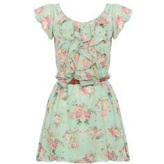Mint Floral Ruffle Dress