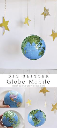 Easy DIY Glitter Globe Mobile, the perfect addition to a nursery or kid's room! Delineateyourdwelling.com