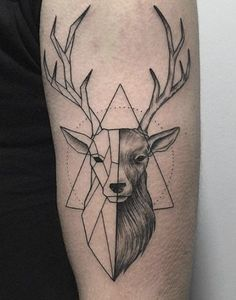 Only the best free Geometric Deer Tattoo Arm tattoo's you can find online! Geometric Deer Tattoo Arm tattoo's to print off and take to your tattoo artist. Hirsch Tattoo Hand, Hirsch Tattoo Frau, Hirsch Tattoos, Geometric Deer, Geometric Tattoo Design, Geometric Tattoo Animal, Geometric Tattoos Men, Geometric Drawing, Geometric Tattoos