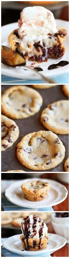 Deep Dish Chocolate Chip Molten Lava Cookies