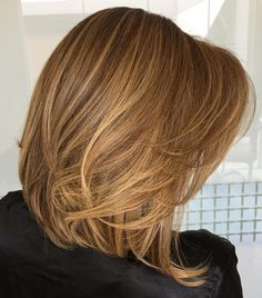 Caramel Lob with Delicate Layers