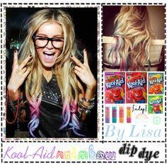 """Rainbow Kool-Aid Dip Dye"" by polyvoretipsgirls on Polyvore"