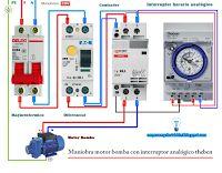Esquema eléctrico maniobra motor bomba con interruptor analógico theben