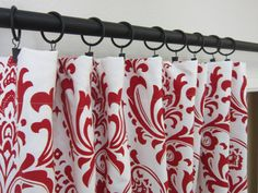 Designer custom   Red Cotton Damask Curtains /Home by pillowpuff, $140.00