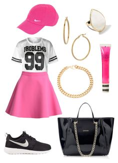 """""""Chic-Sport pink outfit 2015"""" by diamondanna ❤ liked on Polyvore featuring MSGM, NIKE, Alessandra Rich, Ippolita, Bony Levy and Topshop"""