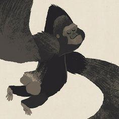 Cute gorilla illustration by Matt Dawson