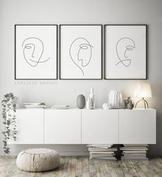 Printable Abstract Face Set of One Continuous Line Print, Black White Artwork, Original Minimalist Faces Poster, Drawing Wall Art Gallery Druckbare abstrakte Gesicht [. Hair Salon Interior, Salon Interior Design, Home Design, Design Art, Decoration Chic, Art Decor, Home Decor, Decor Ideas, Ballet Decor