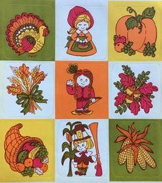 Vintage Hallmark Thanksgiving Stickers