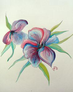flower cool watercolor paintings
