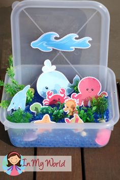 Sunday School Creation Day 5. FREE printables to help create an ocean, fish and sea creatures sensory tub.
