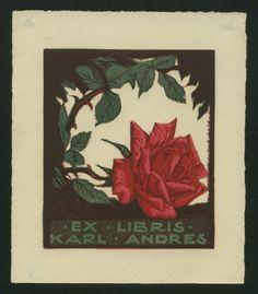 Kunst, Adolf (1882-1937): Ex Libris Karl Andres. Rose.