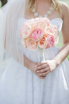peach peonies and roses bridal bouquet   Larissa Nicole Photography