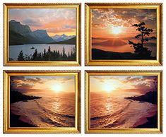 Glacier National Park Wall Decor Ocean Scenery Sunset Golden Framed Four Set Landscape Picture Art Print Posters Wall Decor Pictures, Ocean Sunset, Landscape Pictures, Framed Wall Art, National Parks, Scenery, Posters, Art Prints, Art Impressions
