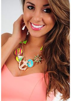 Ocean Life For Me Necklace: Multi Neon from Hope's Women's Boutique!