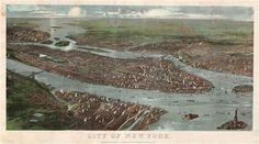 1897 Colton chromolithograph map view of New York City, Manhattan, Brooklyn, Queens