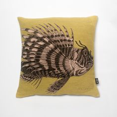 Large Linen Union cushion printed with Red Lion fish design with yellow background and plain Linen Union ...