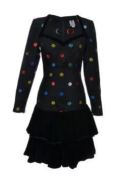#Ungaro #Vintage | #PolkaDot Vintage #Dress mit Samtdetails, Gr.S | Emanuel Ungaro Vintage #Kleid | mymint-shop.com | Ihr #OnlineShop für #Secondhand / Vintage #Designerkleidung & Accessoires bis zu -90% vom Neupreis das ganze Jahr #mymint