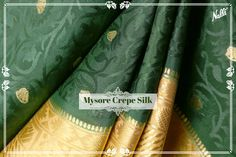The zari butta on jacquard design coupled with a grand border and pallu give this bottle green Mysore crepe silk saree a majestic look!Priced INR 7,787/-, available at our website (Link in the bio) #Nalli #silksareesonline #mysoresilk  #mysoresilksaree #crepesilk #crepesilksaree
