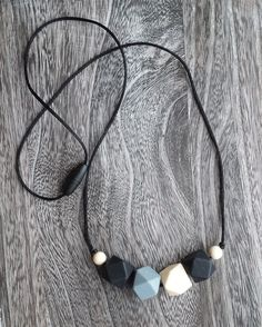 Geometric Bead Silicone Teething Necklace in Black, Grey, Cream