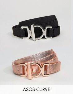 ASOS DESIGN Curve 3 pack metallic waist and hip belts - Black Asos Curve aKc0yH6eky