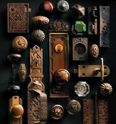 Vintage Vignettes - The Cottage Market - vintage knobs and hinges as art. could you imagine necklaces hanging off here?