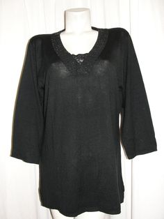 SUSAN GRAVER style Black Pullover Sequin & Lace Trim 3/4 Slv Sweater Top Size XL #SUSANGRAVERstyle #KnitTop #EveningOccasion