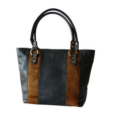 Authentic Claudia Firenze Black Leather & Pony Hair Tote Bag Made in Italy #ClaudiaFirenze #TotesShoppers