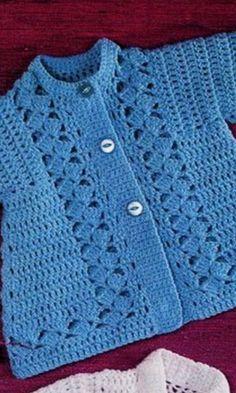 Crochet Baby Cardigan Free Pattern, Crochet Baby Sweater Pattern, Crochet Applique Patterns Free, Crochet Baby Sweaters, Newborn Crochet Patterns, Baby Sweater Patterns, Crochet Coat, Baby Clothes Patterns, Crochet Baby Hats