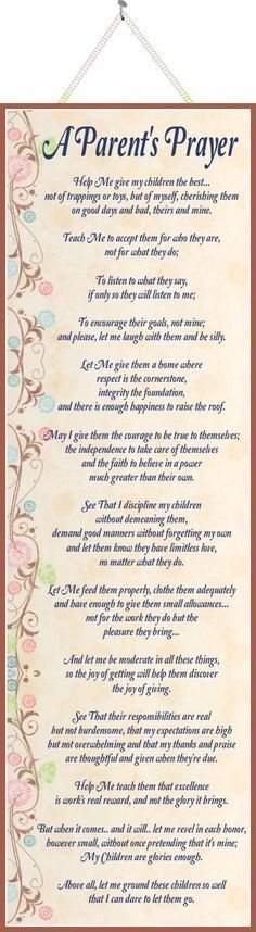 A Parent's Prayer Inspirational Quote Sign with Pink & Blue Flowers,wax