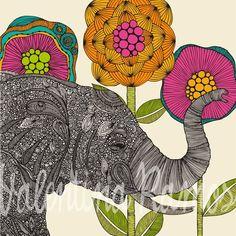 Nat -- baby sb  Aaron the elephant  print by valentinadesign on Etsy, $15.00