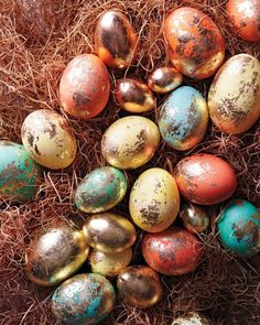 "The fabled ""golden egg"" never looked quite so cool and organic: Ours were dyed in bright colors, then brushed with copper or gold leaf. You just need time to boil the eggs and let the colors dry before you leaf them. Get the Colorful Foiled Eggs How To"