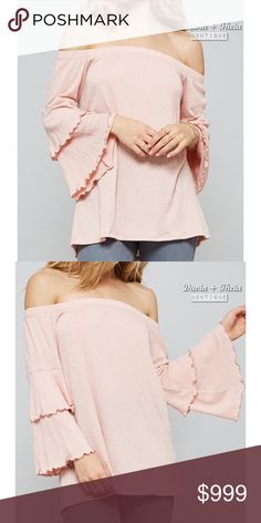 HP 5X 💖 Dusty Pink Off Shoulder Top Slightly loose fit, off-the-shoulder silhouette bell sleeve top. Has elastic neckline and tiered layer sleeves. Made with medium weight fabric that is very soft, drapes well.  Fabric: 79.5% Polyester | 19% Rayon | 1.5% Spandex  Made in USA 🇺🇸  💟PRICE is FIRM 💟NO Trades 💟All Sales are FINAL Davin+Theia Tops Blouses