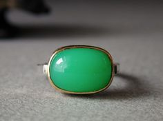 Chrysoprase in Sterling and 18kt Gold Ring