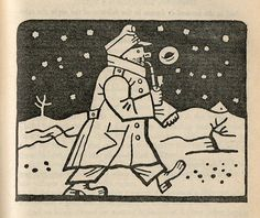 """Josef Lada – Illustration for Jaroslav Hašek's """"The Good Soldier Švejk and His Fortunes in the World War,"""" 1924 Brave, World War One, Woodblock Print, Cat Life, Winter Christmas, Line Drawing, Caricature, Art Images, The Book"""