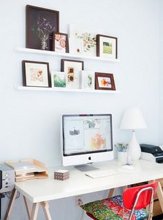 simple desk and shelves by absythia