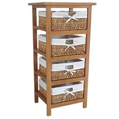 Home Discount Maize Storage Unit Brown, 4 Drawer Cabinet Baskets FREE DELIVERY