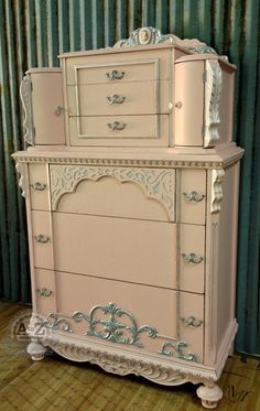 Pink Chiffon Dreams~ An ornate dresser painted with Webster's Chalk Paint Powder and accented with metallic stencil creme.