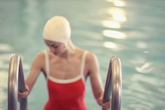 New Work | Swimmers and Pools by Lucy Snowe Photography Pool Fotografie, Swimming Pool Photography, Female Swimmers, Vintage Bathing Suits, Red Suit, Swim Caps, Girls Swimming, Jolie Photo, Bathing Beauties