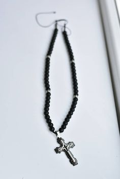 Items similar to Long Beaded necklace, Onyx beads and stainless steel Chaplet necklace, Men beaded necklace, Long Beaded necklace for women, on Etsy Handmade Leather Jewelry, Leather Material, My Etsy Shop, Beaded Necklace, Beads, Check, Beaded Collar, Beading, Pearls
