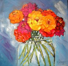 """Flower Painting, Floral Still Life, """"Jar Full of Sunshine"""" by Carol Schiff, 10x10 Oil Painting"""