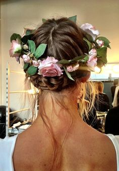 Love this bohemian style flower crown and her carefree hair...love this style for a romantic-bohemian style wedding in capri
