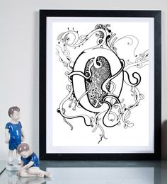 O Monogram  ...Illustration art giclée print signed by Tomek Wawer, typography O #tomasz wawer #poster