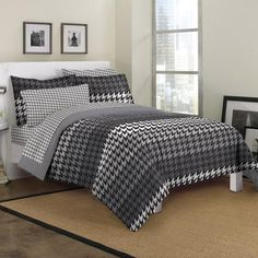 Loft Style Houndstooth Mini Bed In A Bag Bedding Set - Walmart.com