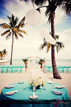 If we have the ceremony and reception at the same place, this could work for us, too :) (A beautiful beach set-up, Key West)
